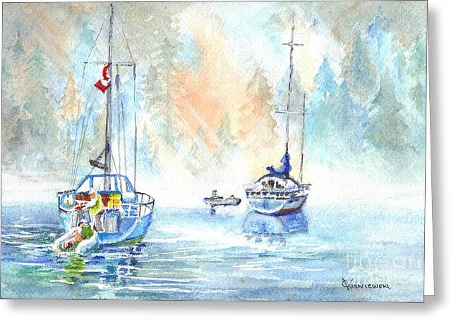 Water Vessels Drawings Greeting Cards - Two in the Early Morning Mist Greeting Card by Carol Wisniewski