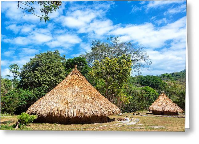 Two Indigenous Huts Greeting Card by Jess Kraft