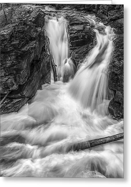 Black And White Waterfall Greeting Cards - Two into One Greeting Card by Jon Glaser