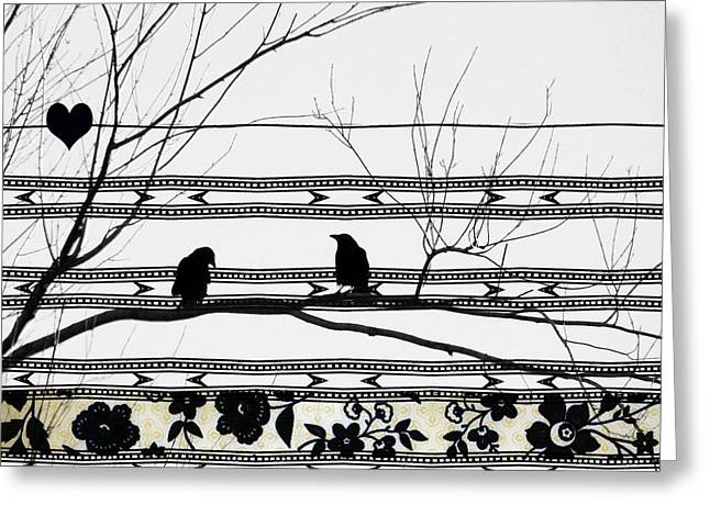 Birds On A Branch Greeting Cards - Two Is Better Greeting Card by Gothicolors Donna Snyder