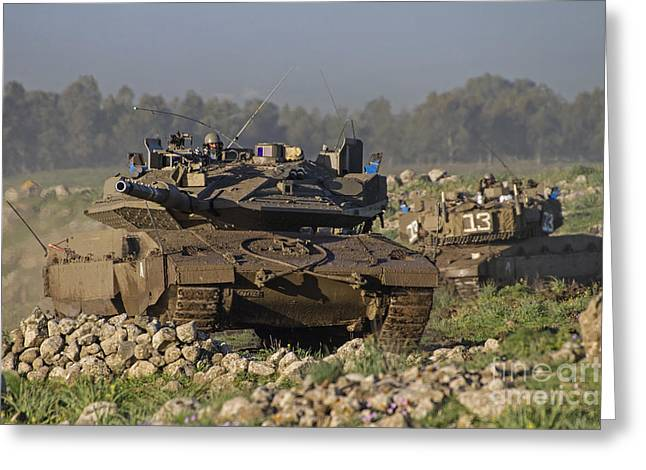 Battletank Greeting Cards - Two Israel Defense Force Merkava Mark Greeting Card by Ofer Zidon