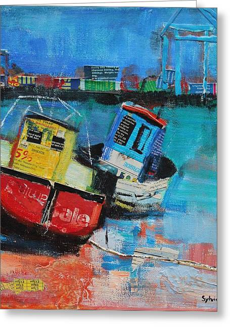 Fishing Boats Greeting Cards - Two Jolly Fishing Boats 2012, Acrylicpaper Collage Greeting Card by Sylvia Paul