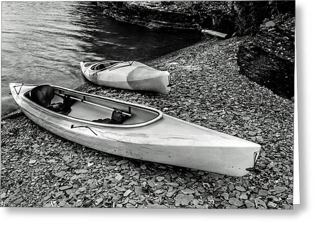 Sit-ins Greeting Cards - Two Kayaks on Seneca Lake Greeting Card by Photographic Arts And Design Studio