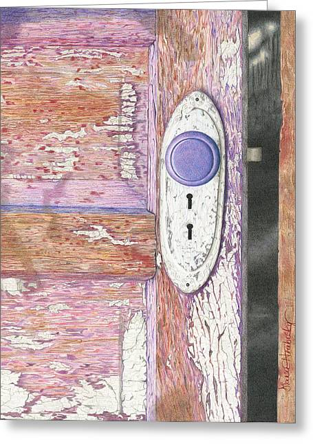 Painted Wood Drawings Greeting Cards - Two Keys? Greeting Card by Diana Hrabosky