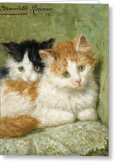 Henriette Greeting Cards - Two Kittens Sitting on a Cushion Greeting Card by Henriette Ronner-Knip