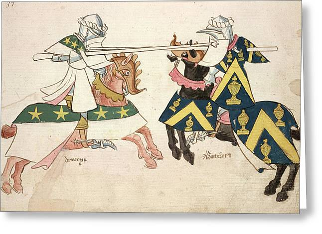 Two Knights Jousting Greeting Card by British Library