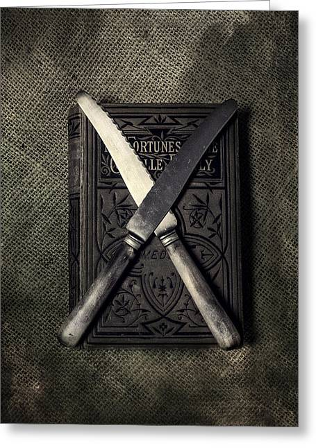 Spikey Greeting Cards - Two Knives And A Book Greeting Card by Joana Kruse
