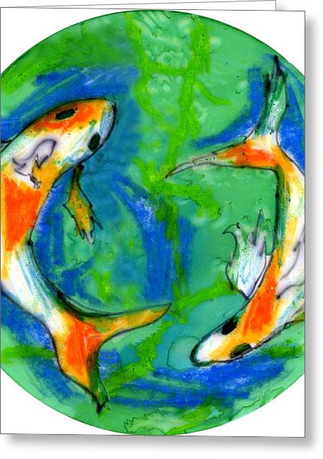 Yellow Fish Mixed Media Greeting Cards - Two Koi Fish Greeting Card by Genevieve Esson