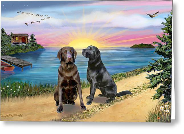 Chocolate Lab Digital Art Greeting Cards - Two Labs at the Lake Greeting Card by Jean B Fitzgerald