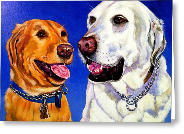 White Lab Greeting Cards - Two Labs Greeting Card by Bob Coonts