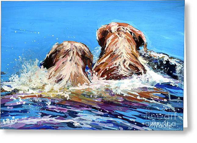 Yellow Dog Paintings Greeting Cards - Two Labs One Wake Greeting Card by Molly Poole