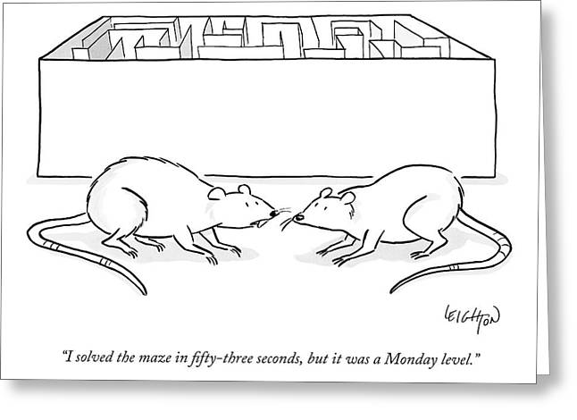 Two Labs Rats Speak Outside A Maze Greeting Card by Robert Leighton