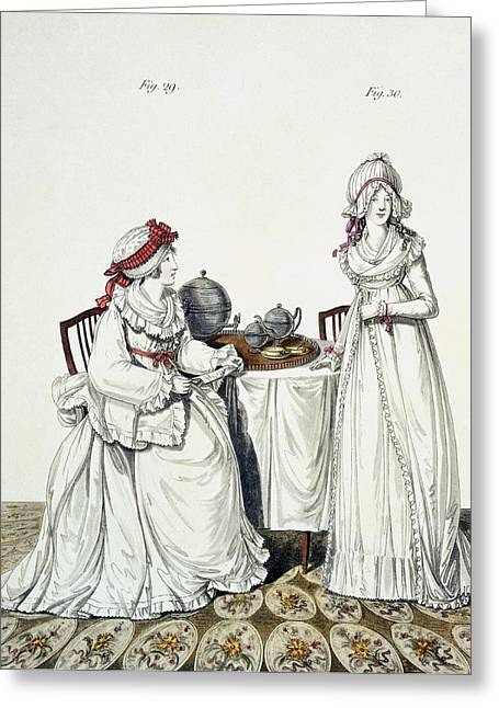 Tea Set Greeting Cards - Two Ladies At Breakfast Greeting Card by Nicolaus von Heideloff
