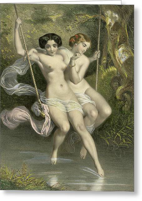 Dipping Greeting Cards - Two Ladies On A Swing Greeting Card by Charles Bargue