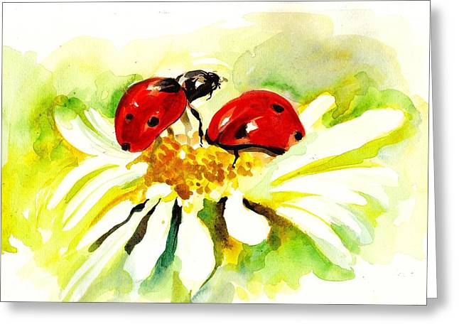 Two Ladybugs In Daisy After My Original Watercolor Greeting Card by Tiberiu Soos