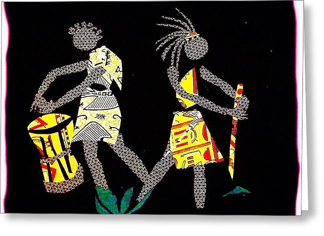 Lady Tapestries - Textiles Greeting Cards - Two Lady Drummers Greeting Card by Ruth Yvonne Ash