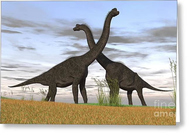 Love The Animal Greeting Cards - Two Large Brachiosaurus In Prehistoric Greeting Card by Kostyantyn Ivanyshen