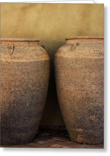 Planter Greeting Cards - Two Large Garden Urns Greeting Card by Carol Leigh