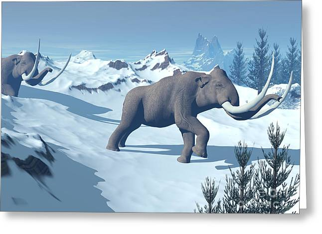 Snow-covered Landscape Digital Greeting Cards - Two Large Mammoths Walking Slowly Greeting Card by Elena Duvernay