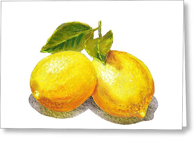 Lemon Art Paintings Greeting Cards - Two Lemons Greeting Card by Irina Sztukowski