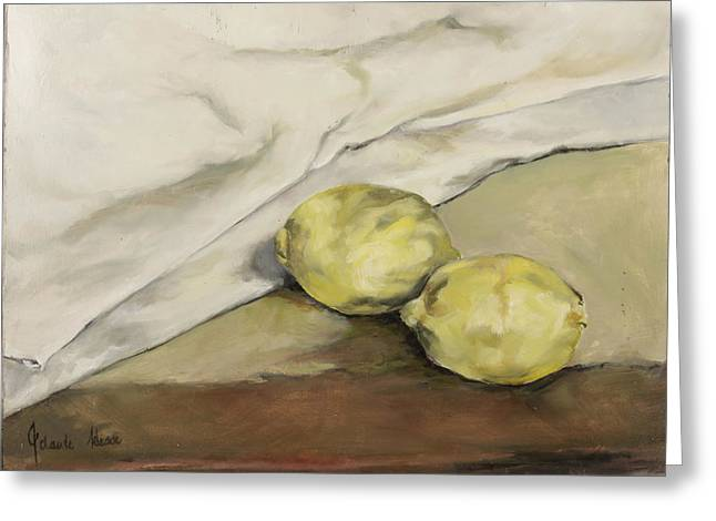 Cloth Greeting Cards - Two Lemons Greeting Card by Jolante Hesse