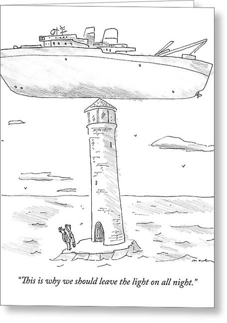 Two Lighthouse Keepers Look Up At A Boat That Greeting Card by Michael Maslin
