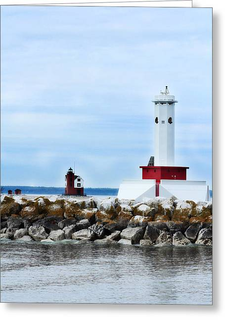 Hovind Greeting Cards - Two Lighthouses Greeting Card by Scott Hovind