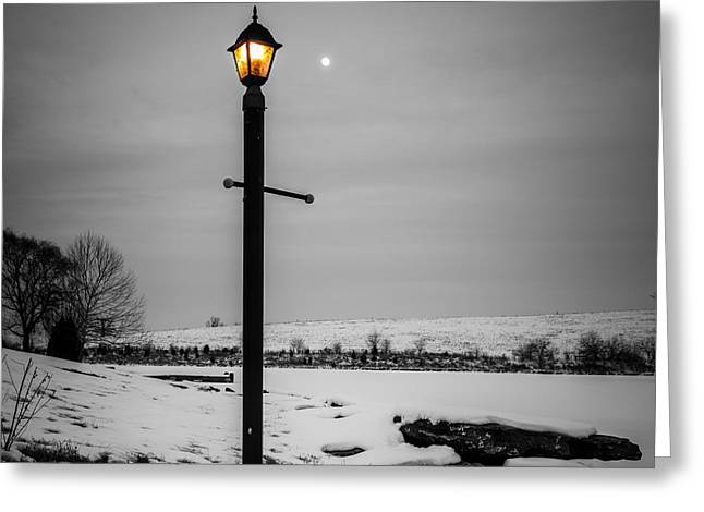 Moonrise Greeting Cards - Two lights Greeting Card by Alexey Stiop