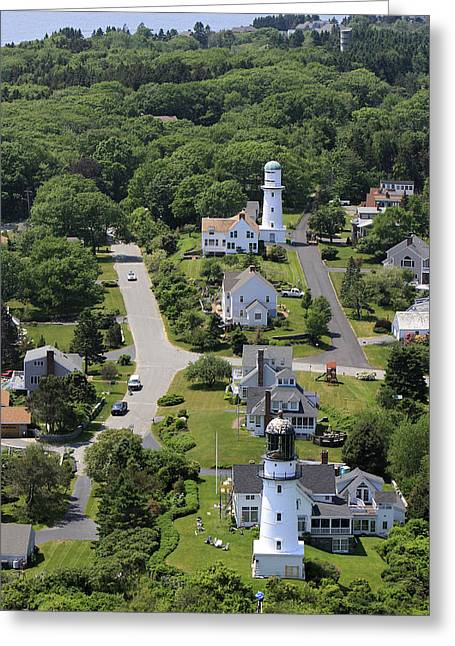 Geometric Shape Greeting Cards - Two Lights Lighthouse, Cape Elisabeth Greeting Card by Dave Cleaveland