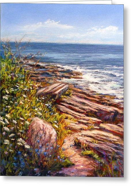 Maine Beach Pastels Greeting Cards - Two Lights State Park Greeting Card by Denise Horne-Kaplan