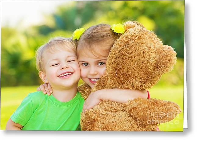 Baby Sister Greeting Cards - Two little child hugging Greeting Card by Anna Omelchenko