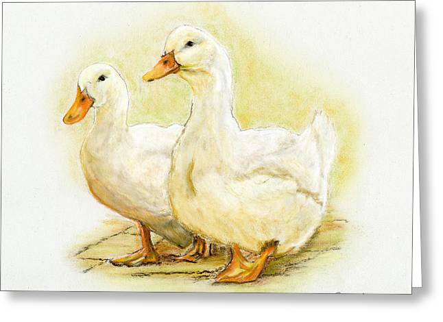 Ducklings Pastels Greeting Cards - Two Little Ducks Greeting Card by Sarah Dowson