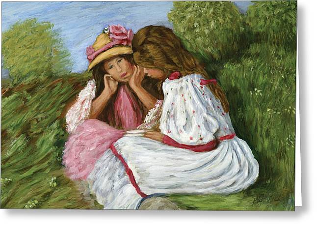Phil Clark Greeting Cards - Two Little Girls Greeting Card by Phil Clark