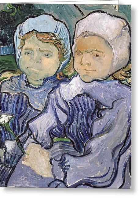 Creepy Paintings Greeting Cards - Two Little Girls Greeting Card by Vincent Van Gogh