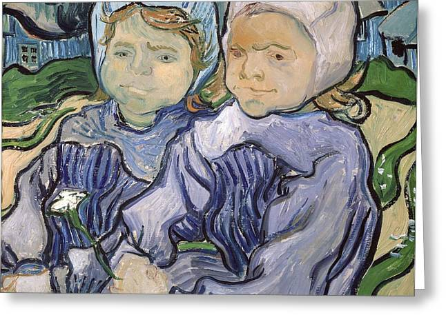Two Little Girls Greeting Card by Vincent Van Gogh