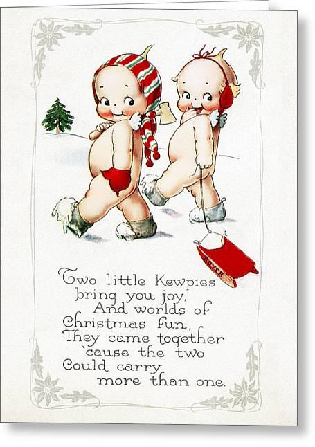 Cards Vintage Greeting Cards - Two Little Kewpies Greeting Card by Munir Alawi