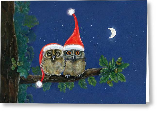 two little owls with Christmas caps Greeting Card by Marina Durante