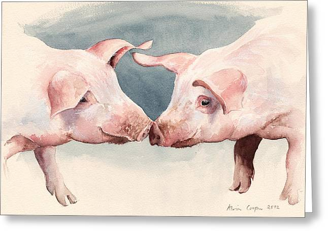 Nose Drawings Greeting Cards - Two Little Piggies Greeting Card by Alison Cooper