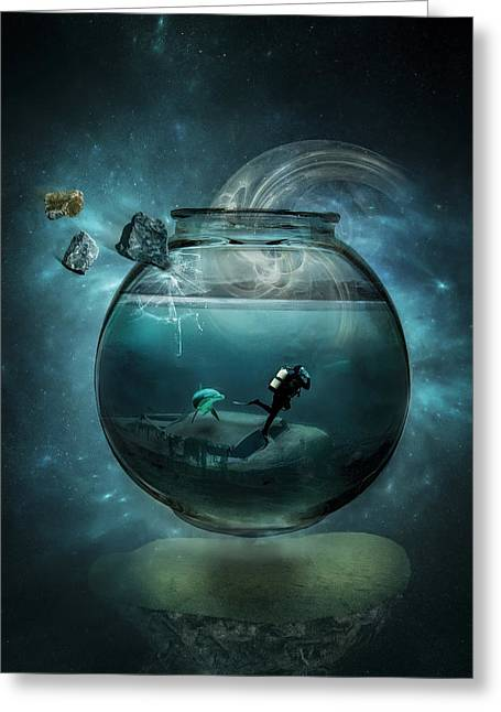 Aquarium Fish Digital Greeting Cards - Two lost souls Greeting Card by Erik Brede
