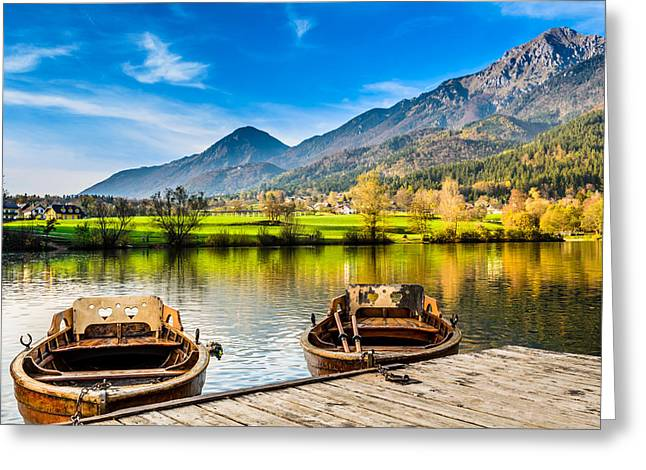 Water Vessels Greeting Cards - Two love boats enjoying the beautiful landscape in Slovenia Greeting Card by Dejan Stojakovic