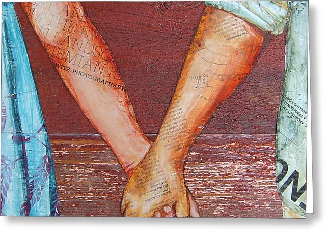 Marriage Mixed Media Greeting Cards - Two Lovers Entwined Greeting Card by Danny Phillips
