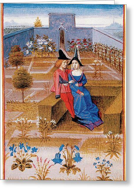 Two Lovers In The Garden Greeting Card by Prisma Archivo