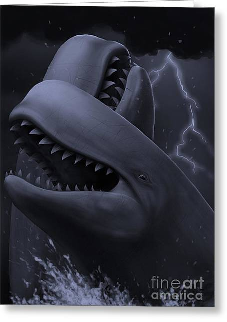 Images Lightning Digital Art Greeting Cards - Two Male Livyatan Whales Fighting Greeting Card by Alvaro Rozalen