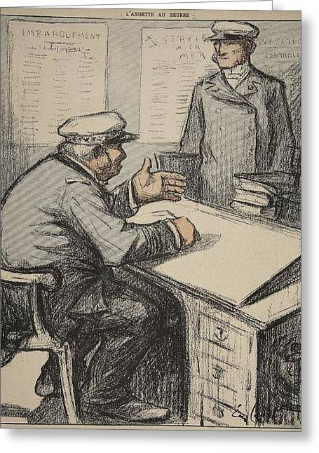 Irony Greeting Cards - Two Maritime Gentlemen Greeting Card by Eugene Cadel
