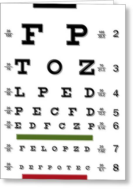 Booze Digital Greeting Cards - Two Martini Eye Chart Greeting Card by Daniel Hagerman