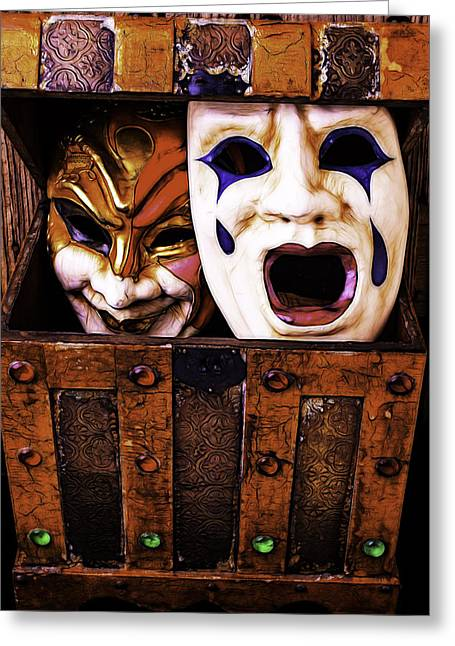 Treasure Box Greeting Cards - Two Masks In Box Greeting Card by Garry Gay