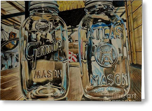 Mason Jars Drawings Greeting Cards - Two Mason Jars Greeting Card by Jackie Bryant