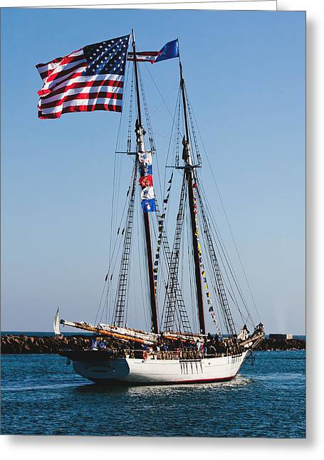 Sailing Ship Greeting Cards - Two-masted Schooner Greeting Card by Art Block Collections