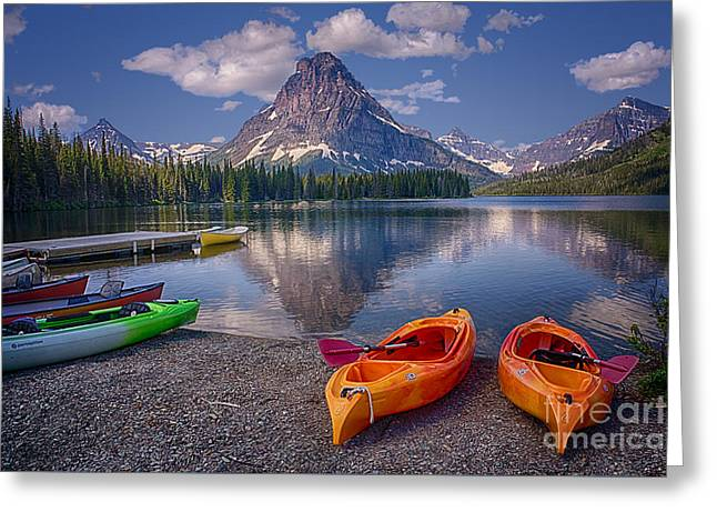 Canoe Greeting Cards - Two Medicine Lake Reflections Greeting Card by Priscilla Burgers