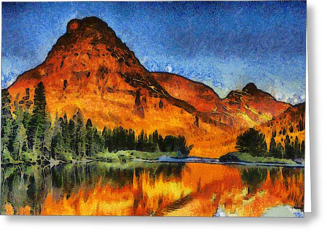 Glowing Mixed Media Greeting Cards - Two Medicine Sunrise - Digital Painting Greeting Card by Mark Kiver